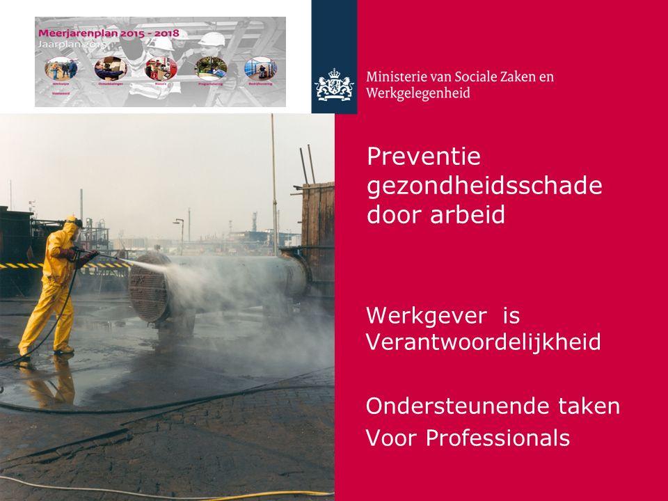 Preventie gezondheidsschade door arbeid Werkgever is Verantwoordelijkheid Ondersteunende taken Voor Professionals