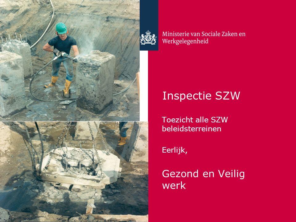 Inspectie SZW Toezicht alle SZW beleidsterreinen Eerlijk, Gezond en Veilig werk
