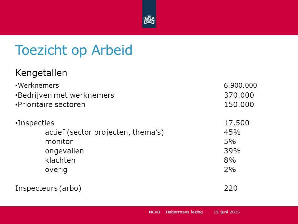 Toezicht op Arbeid Kengetallen Werknemers6.900.000 Bedrijven met werknemers370.000 Prioritaire sectoren150.000 Inspecties17.500 actief (sector project