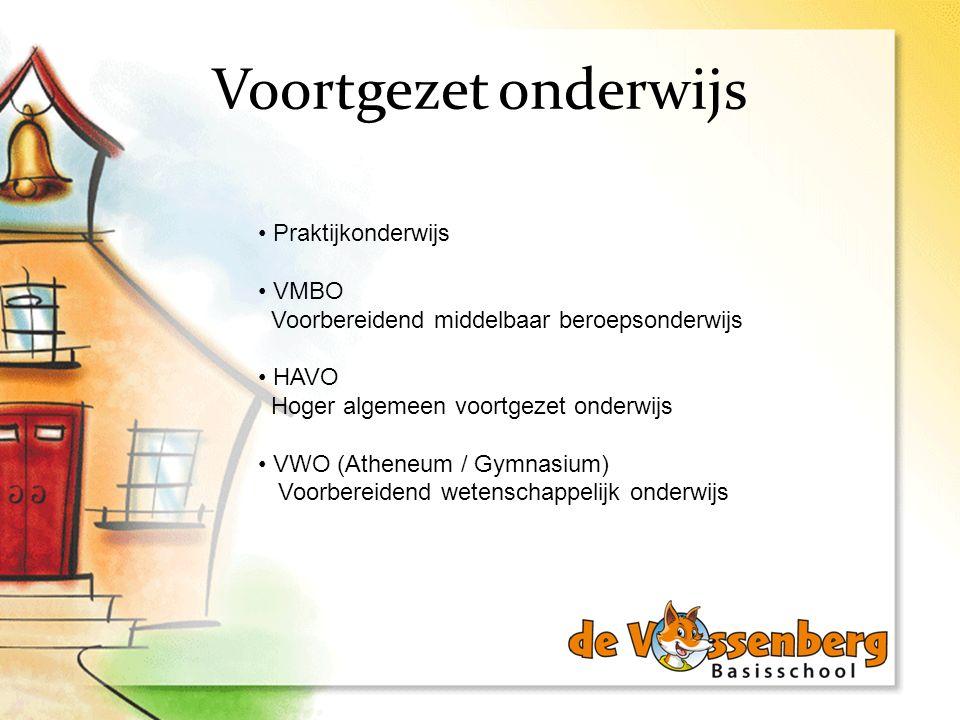 Voortgezet onderwijs Praktijkonderwijs VMBO Voorbereidend middelbaar beroepsonderwijs HAVO Hoger algemeen voortgezet onderwijs VWO (Atheneum / Gymnasi