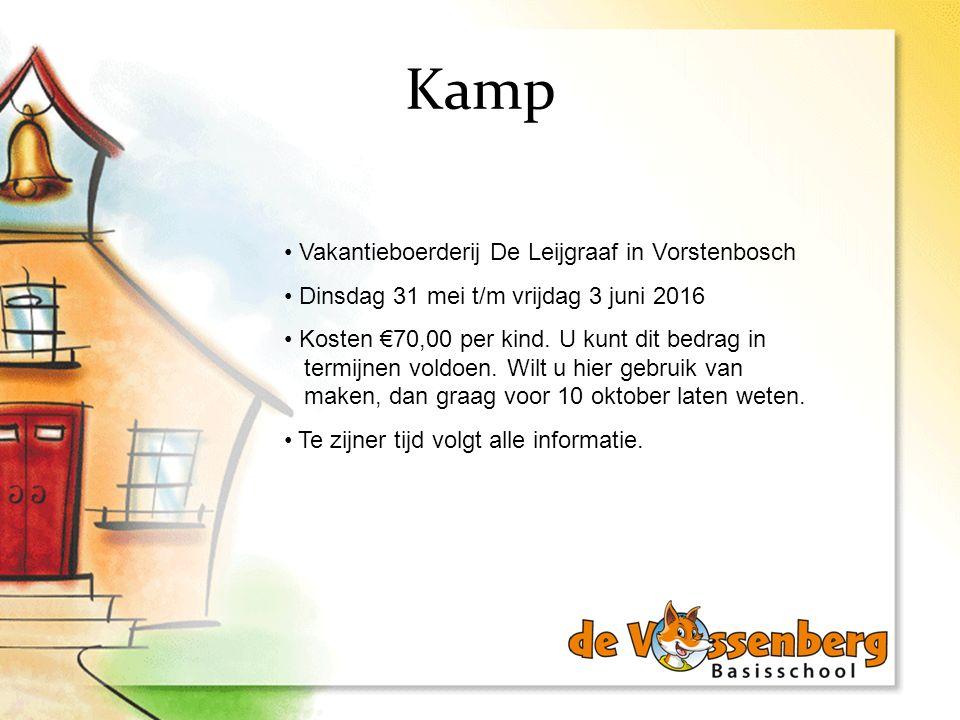Kamp Vakantieboerderij De Leijgraaf in Vorstenbosch Dinsdag 31 mei t/m vrijdag 3 juni 2016 Kosten €70,00 per kind. U kunt dit bedrag in termijnen vold