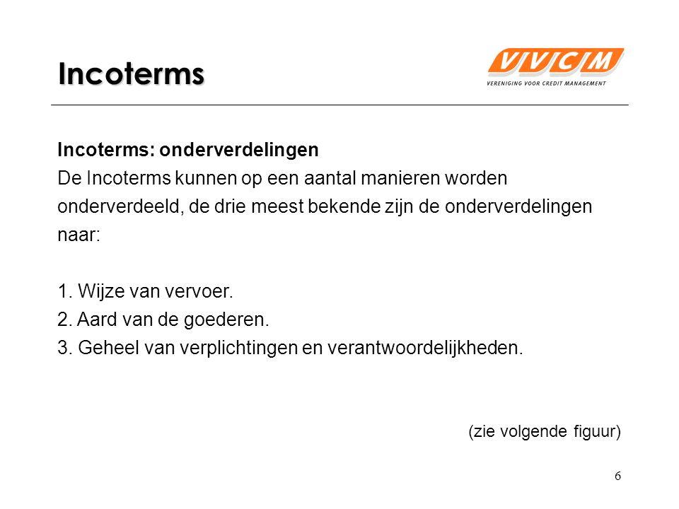 17 11 Incoterms: CIP CIP: Carriage and Insurance Paid to - Vrachtvrij inclusief verzekering tot (overeengekomen plaats van bestemming) Het risico gaat over op de koper nadat de verkoper de goederen ter vervoer heeft aangeboden aan de door hem zelf geregelde eerste vervoerder.