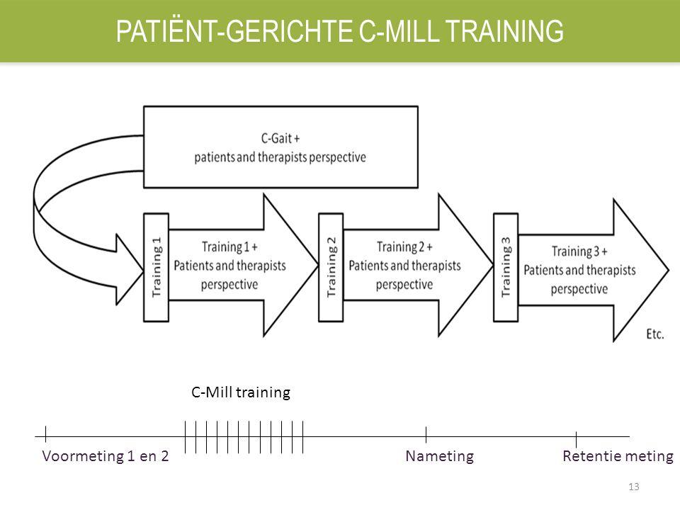 13 Voormeting 1 en 2 Nameting Retentie meting C-Mill training