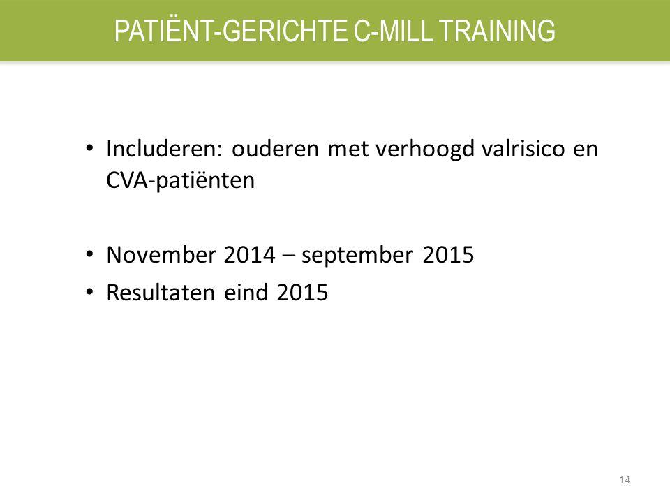 14 Includeren: ouderen met verhoogd valrisico en CVA-patiënten November 2014 – september 2015 Resultaten eind 2015