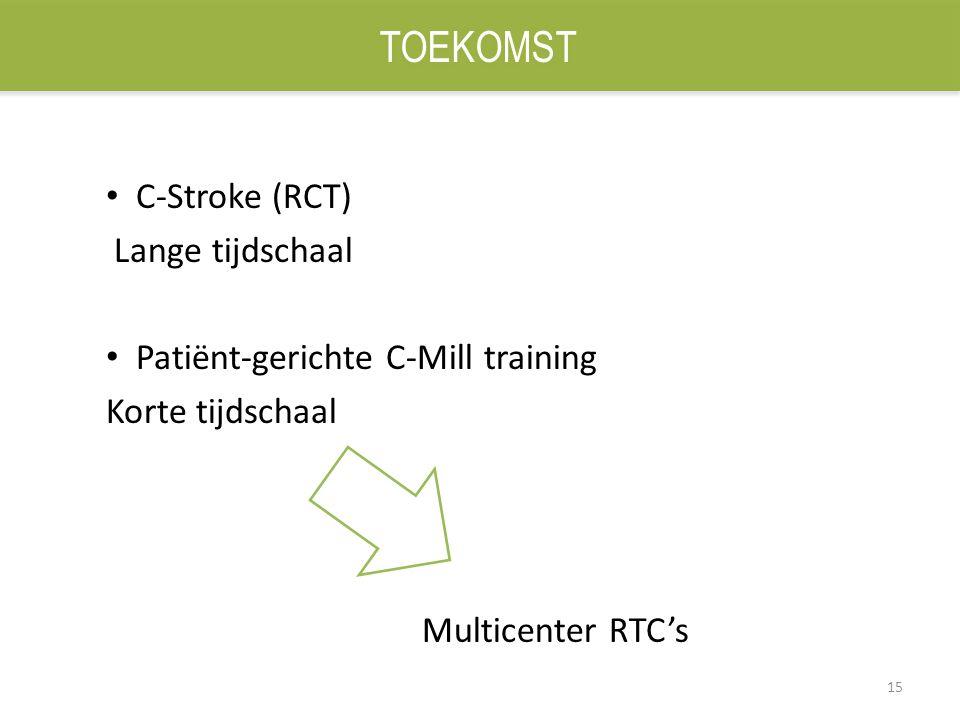15 C-Stroke (RCT) Lange tijdschaal Patiënt-gerichte C-Mill training Korte tijdschaal Multicenter RTC's