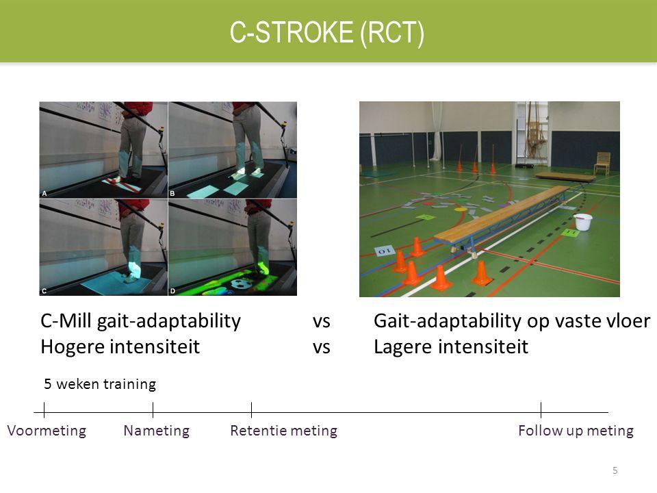 5 C-Mill gait-adaptability vs Gait-adaptability op vaste vloer Hogere intensiteit vs Lagere intensiteit Voormeting Nameting Retentie meting 5 weken tr