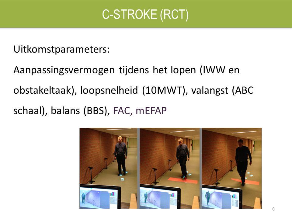 6 Uitkomstparameters: Aanpassingsvermogen tijdens het lopen (IWW en obstakeltaak), loopsnelheid (10MWT), valangst (ABC schaal), balans (BBS), FAC, mEF