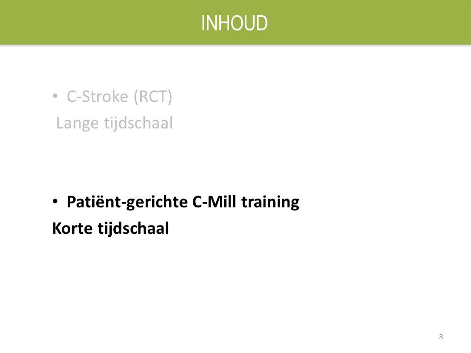 8 C-Stroke (RCT) Lange tijdschaal Patiënt-gerichte C-Mill training Korte tijdschaal