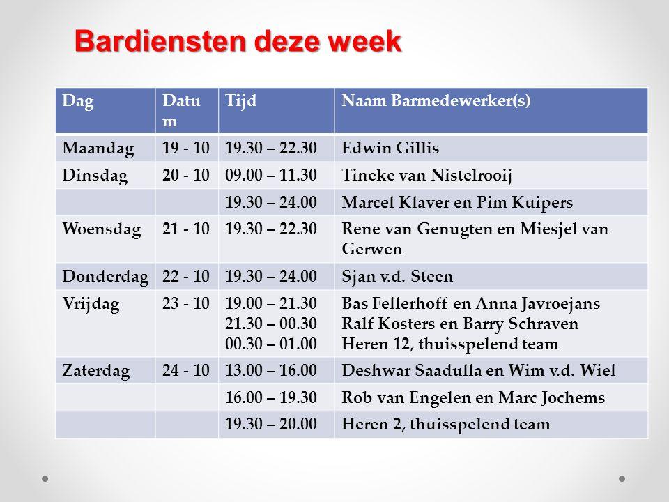 DagDatu m TijdNaam Barmedewerker(s) Maandag19 - 1019.30 – 22.30Edwin Gillis Dinsdag20 - 1009.00 – 11.30Tineke van Nistelrooij 19.30 – 24.00Marcel Klav