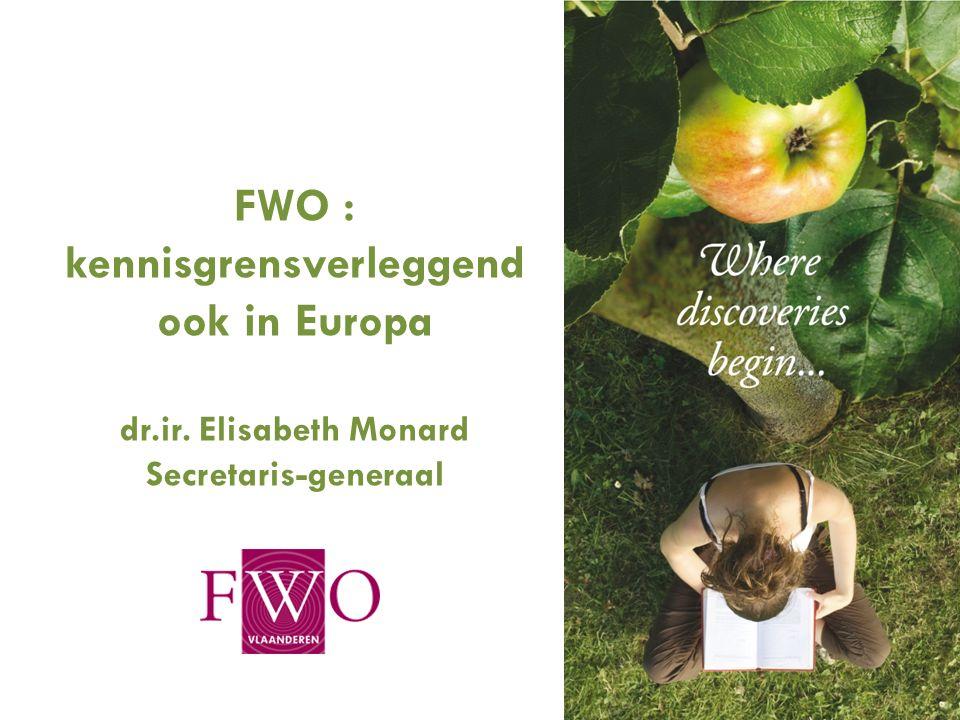 1 FWO : kennisgrensverleggend ook in Europa dr.ir. Elisabeth Monard Secretaris-generaal