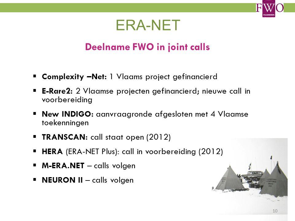 ERA-NET Deelname FWO in joint calls  Complexity –Net: 1 Vlaams project gefinancierd  E-Rare2: 2 Vlaamse projecten gefinancierd; nieuwe call in voorbereiding  New INDIGO: aanvraagronde afgesloten met 4 Vlaamse toekenningen  TRANSCAN: call staat open (2012)  HERA (ERA-NET Plus): call in voorbereiding (2012)  M-ERA.NET – calls volgen  NEURON II – calls volgen 10