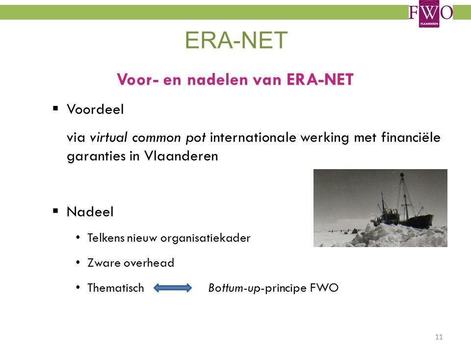 ERA-NET Voor- en nadelen van ERA-NET  Voordeel via virtual common pot internationale werking met financiële garanties in Vlaanderen  Nadeel Telkens nieuw organisatiekader Zware overhead Thematisch Bottum-up-principe FWO 11