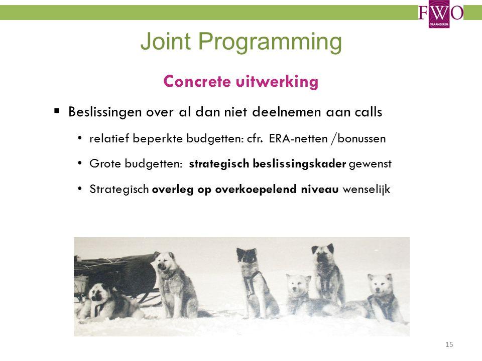 Joint Programming Concrete uitwerking  Beslissingen over al dan niet deelnemen aan calls relatief beperkte budgetten: cfr.