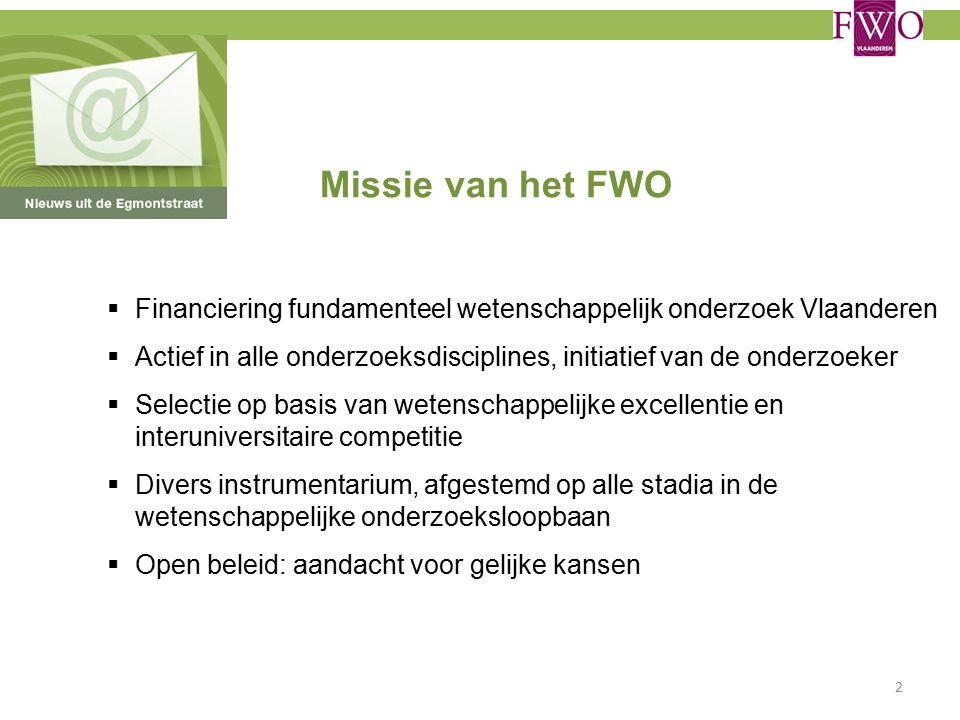Missie van het FWO  Financiering fundamenteel wetenschappelijk onderzoek Vlaanderen  Actief in alle onderzoeksdisciplines, initiatief van de onderzoeker  Selectie op basis van wetenschappelijke excellentie en interuniversitaire competitie  Divers instrumentarium, afgestemd op alle stadia in de wetenschappelijke onderzoeksloopbaan  Open beleid: aandacht voor gelijke kansen 2