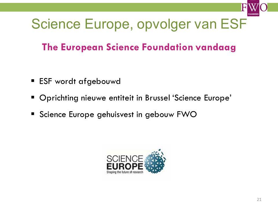 Science Europe, opvolger van ESF The European Science Foundation vandaag  ESF wordt afgebouwd  Oprichting nieuwe entiteit in Brussel 'Science Europe'  Science Europe gehuisvest in gebouw FWO 21