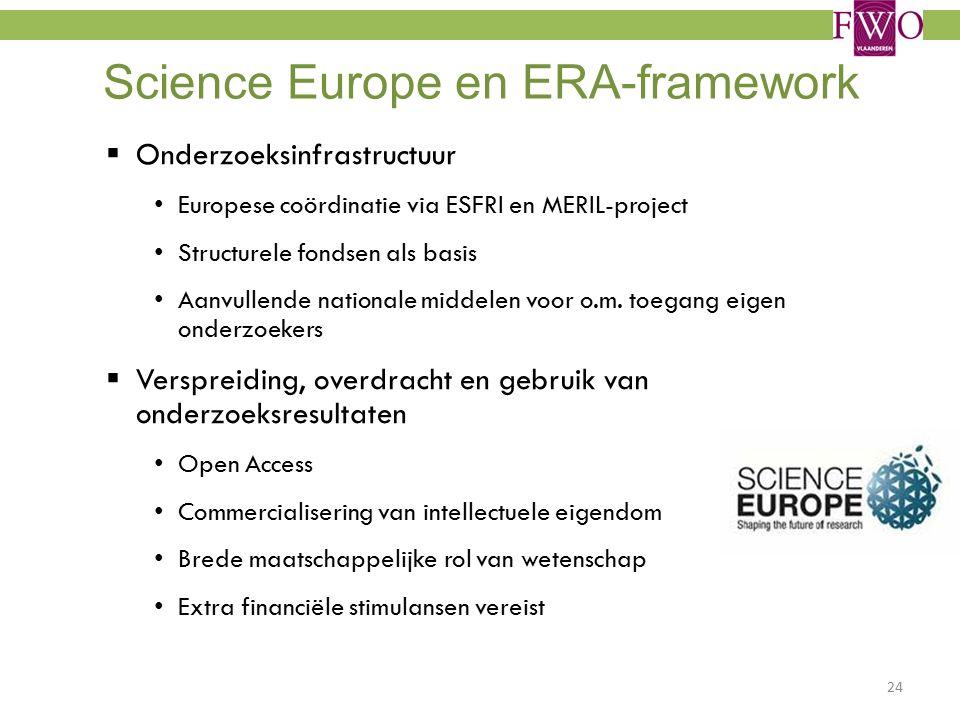 Science Europe en ERA-framework  Onderzoeksinfrastructuur Europese coördinatie via ESFRI en MERIL-project Structurele fondsen als basis Aanvullende nationale middelen voor o.m.