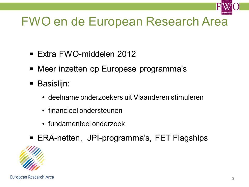 FWO en de European Research Area  Extra FWO-middelen 2012  Meer inzetten op Europese programma's  Basislijn: deelname onderzoekers uit Vlaanderen stimuleren financieel ondersteunen fundamenteel onderzoek  ERA-netten, JPI-programma's, FET Flagships 8