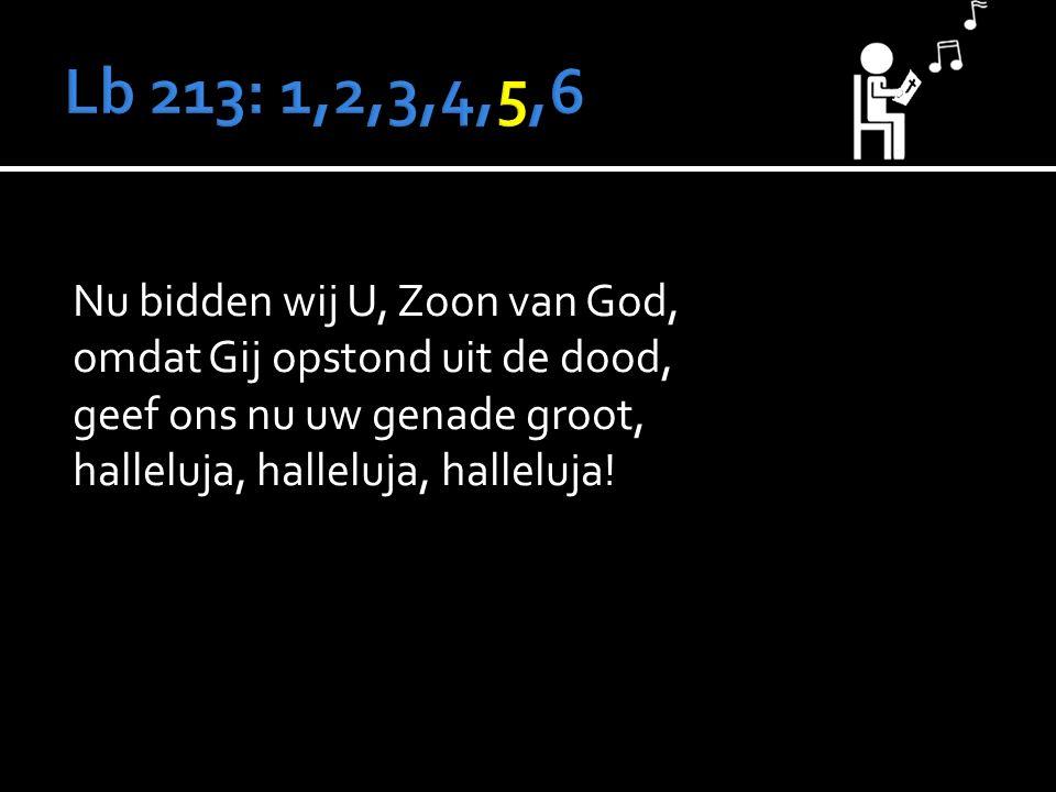 Nu bidden wij U, Zoon van God, omdat Gij opstond uit de dood, geef ons nu uw genade groot, halleluja, halleluja, halleluja!