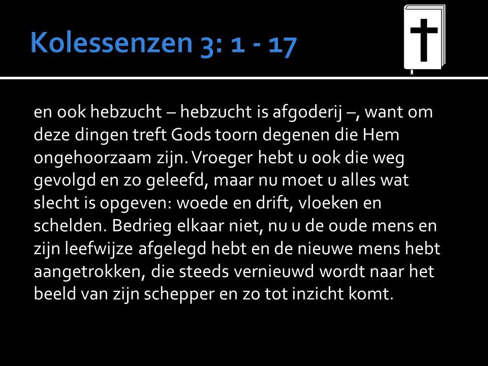 en ook hebzucht – hebzucht is afgoderij –, want om deze dingen treft Gods toorn degenen die Hem ongehoorzaam zijn.