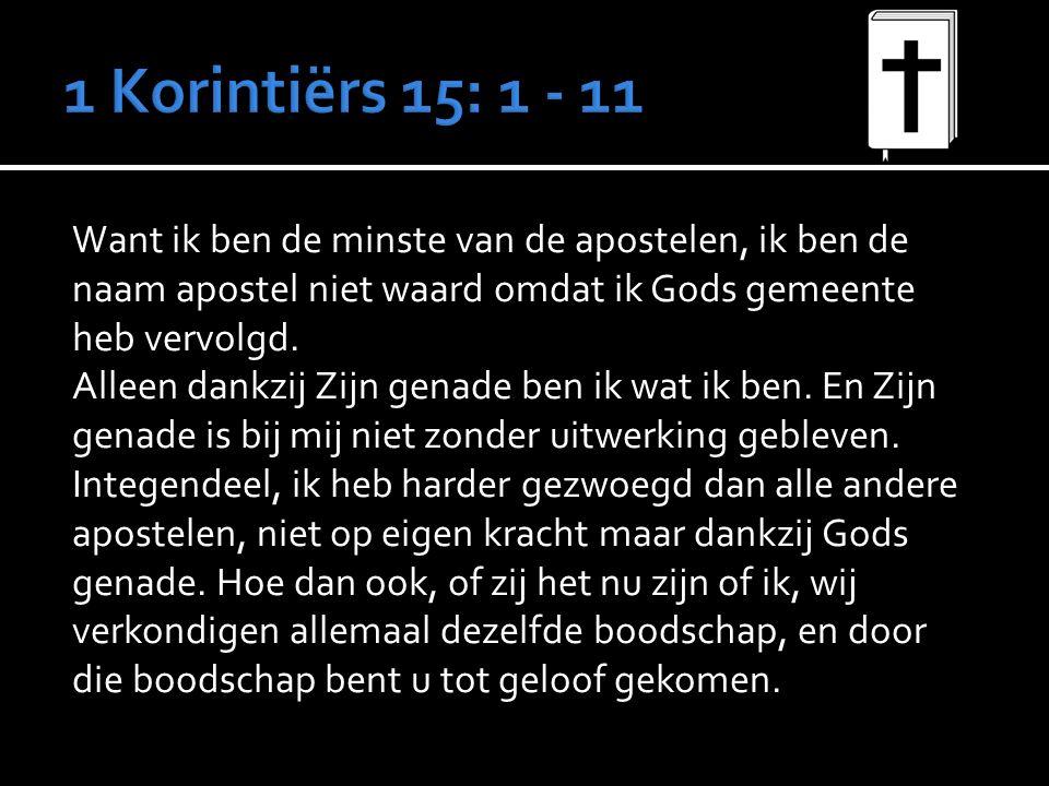 Want ik ben de minste van de apostelen, ik ben de naam apostel niet waard omdat ik Gods gemeente heb vervolgd.