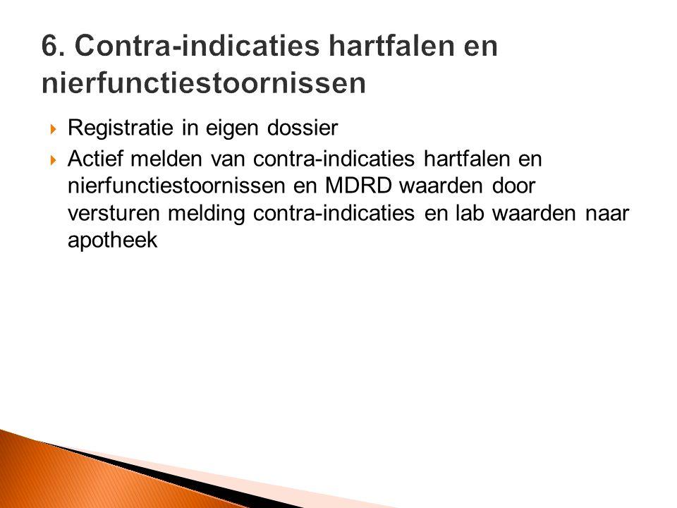  Registratie in eigen dossier  Actief melden van contra-indicaties hartfalen en nierfunctiestoornissen en MDRD waarden door versturen melding contra-indicaties en lab waarden naar apotheek