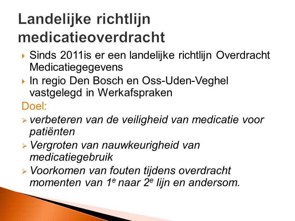 Sinds 2011is er een landelijke richtlijn Overdracht Medicatiegegevens  In regio Den Bosch en Oss-Uden-Veghel vastgelegd in Werkafspraken Doel:  verbeteren van de veiligheid van medicatie voor patiënten  Vergroten van nauwkeurigheid van medicatiegebruik  Voorkomen van fouten tijdens overdracht momenten van 1 e naar 2 e lijn en andersom.