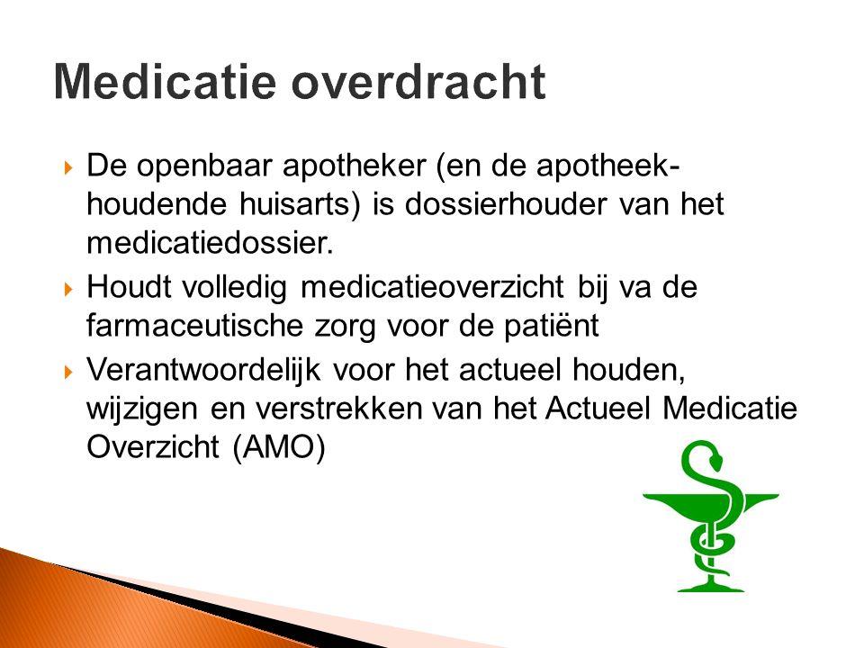  De openbaar apotheker (en de apotheek- houdende huisarts) is dossierhouder van het medicatiedossier.