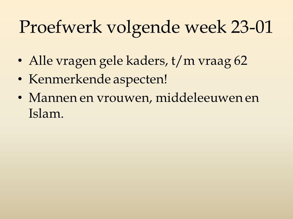 Proefwerk volgende week 23-01 Alle vragen gele kaders, t/m vraag 62 Kenmerkende aspecten! Mannen en vrouwen, middeleeuwen en Islam.