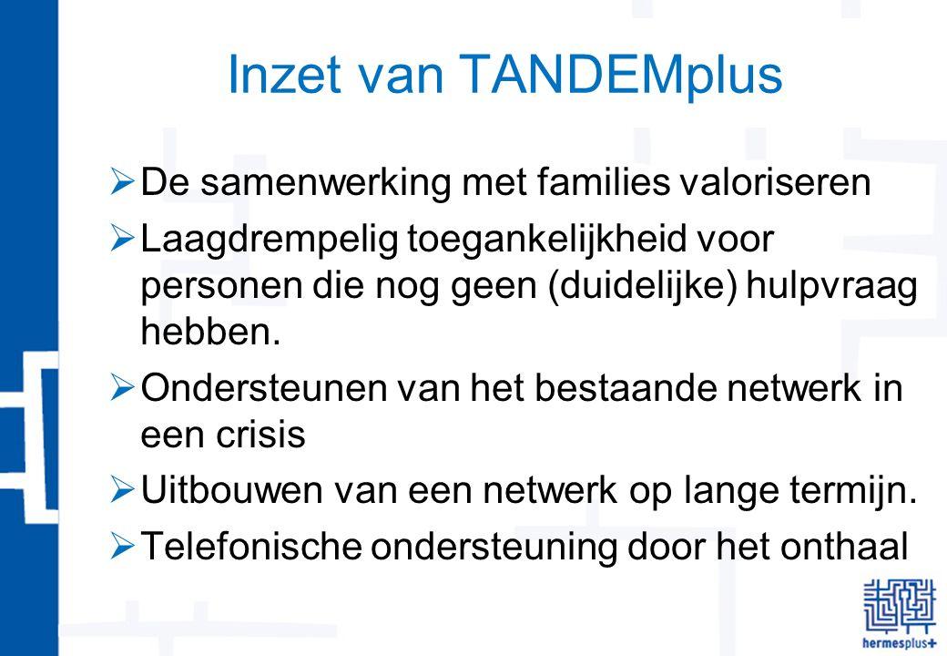 Inzet van TANDEMplus  De samenwerking met families valoriseren  Laagdrempelig toegankelijkheid voor personen die nog geen (duidelijke) hulpvraag hebben.