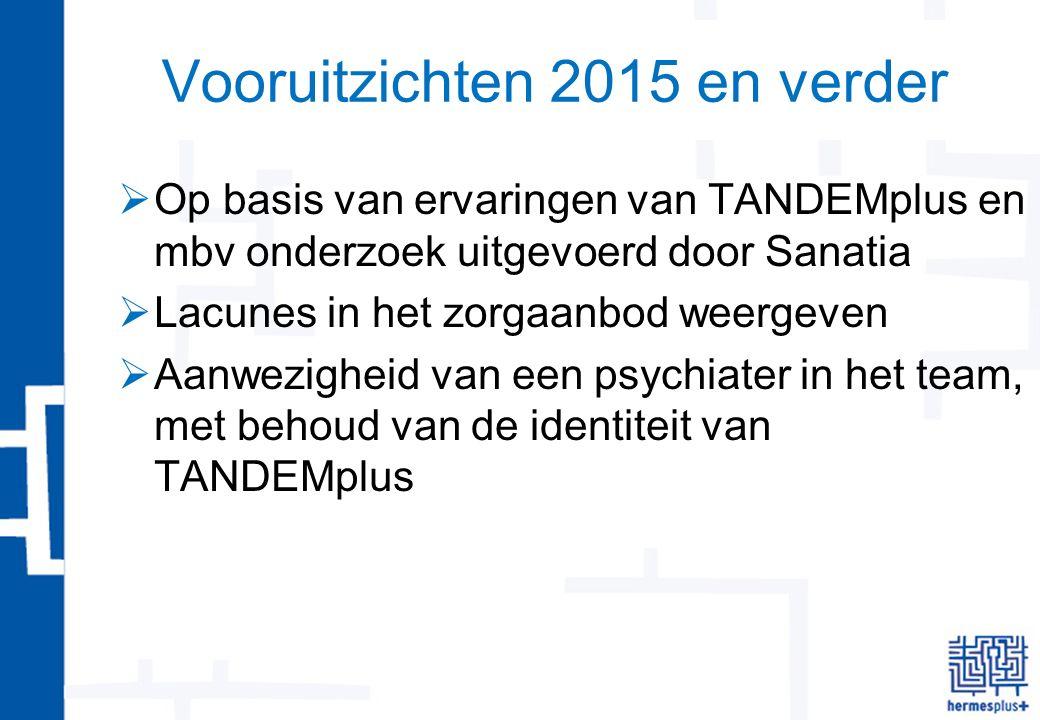Vooruitzichten 2015 en verder  Op basis van ervaringen van TANDEMplus en mbv onderzoek uitgevoerd door Sanatia  Lacunes in het zorgaanbod weergeven  Aanwezigheid van een psychiater in het team, met behoud van de identiteit van TANDEMplus