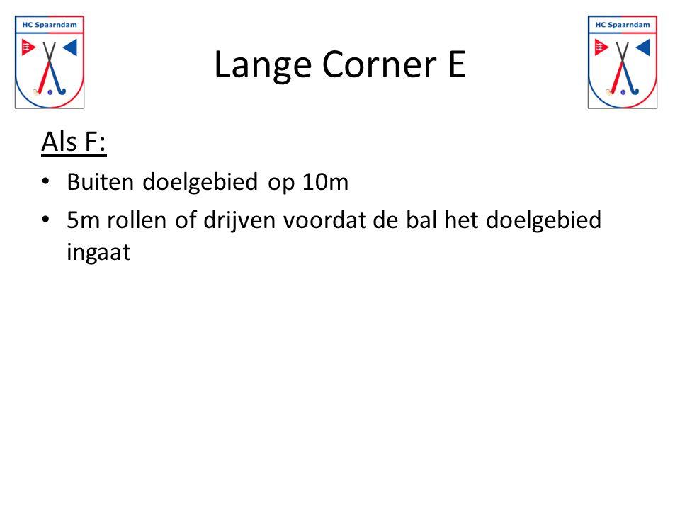 Lange Corner E Als F: Buiten doelgebied op 10m 5m rollen of drijven voordat de bal het doelgebied ingaat