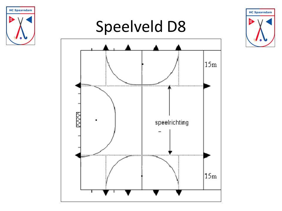 Vrije slagen E + D Gelijk aan F, maar afstand = 5 meter ipv 3 meter Strafcorner E8 en D8 – Spelers van de verdedigende partij die niet meedoen aan de strafcorner moeten in de andere cirkel staan