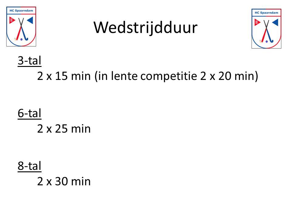 Wedstrijdduur 3-tal 2 x 15 min (in lente competitie 2 x 20 min) 6-tal 2 x 25 min 8-tal 2 x 30 min
