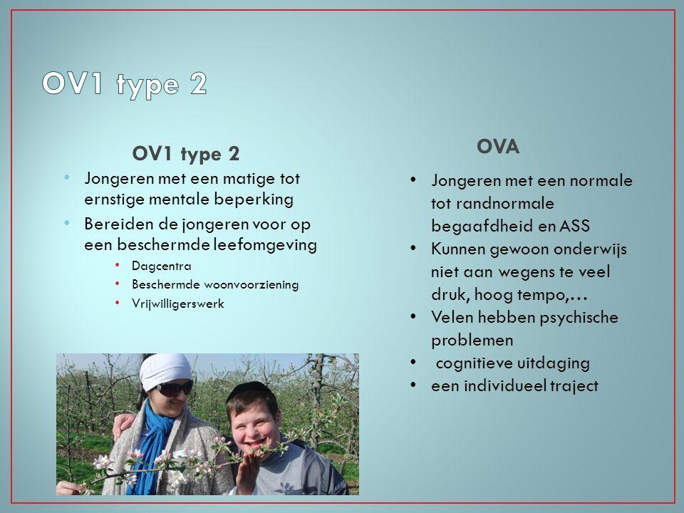 OV1 type 2 Jongeren met een matige tot ernstige mentale beperking Bereiden de jongeren voor op een beschermde leefomgeving Dagcentra Beschermde woonvo