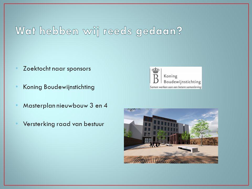 Zoektocht naar sponsors Koning Boudewijnstichting Masterplan nieuwbouw 3 en 4 Versterking raad van bestuur