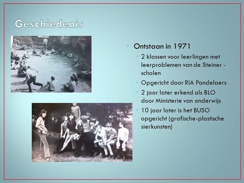 Ontstaan in 1971 2 klassen voor leerlingen met leerproblemen van de Steiner - scholen Opgericht door RIA Pandelaers 2 jaar later erkend als BLO door M