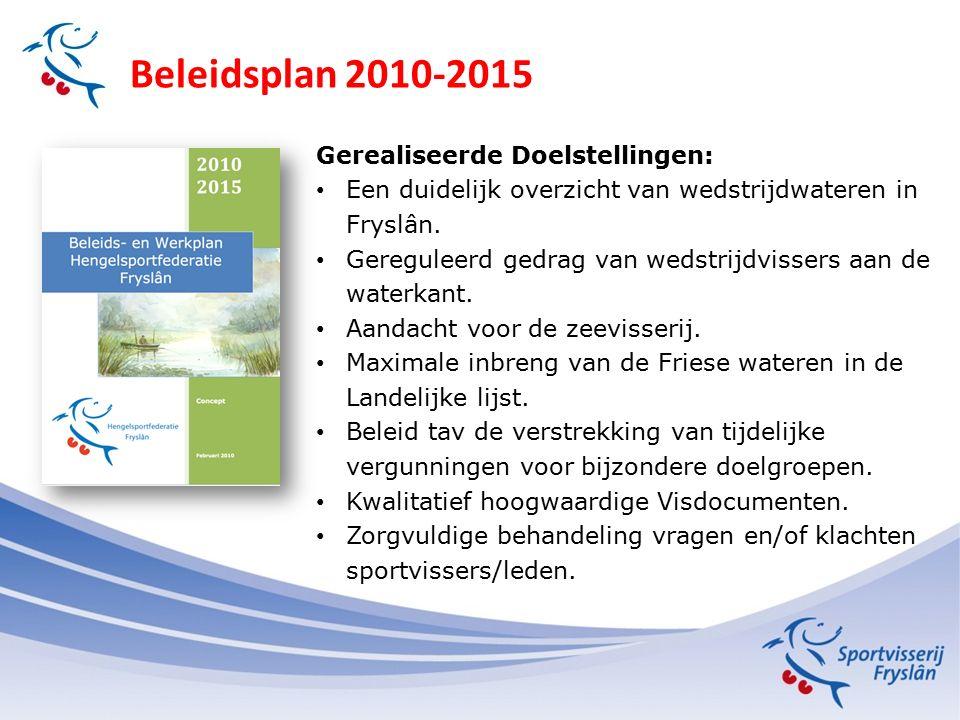 Beleidsplan 2010-2015 Gerealiseerde Doelstellingen: Een duidelijk overzicht van wedstrijdwateren in Fryslân. Gereguleerd gedrag van wedstrijdvissers a