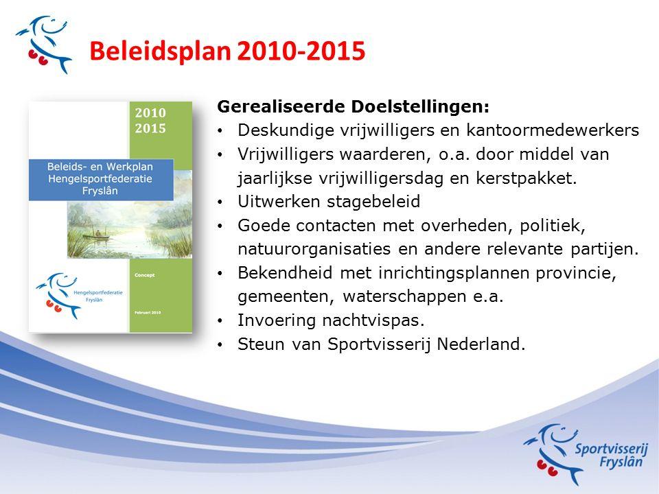 Beleidsplan 2010-2015 Gerealiseerde Doelstellingen: Deskundige vrijwilligers en kantoormedewerkers Vrijwilligers waarderen, o.a.