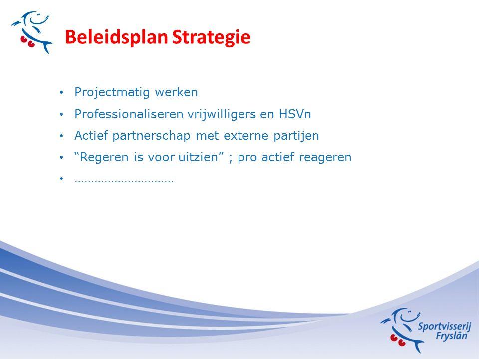 Beleidsplan Strategie Projectmatig werken Professionaliseren vrijwilligers en HSVn Actief partnerschap met externe partijen Regeren is voor uitzien ; pro actief reageren …………………………