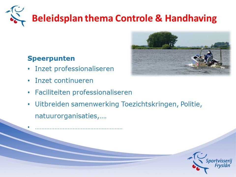 Beleidsplan thema Controle & Handhaving Speerpunten Inzet professionaliseren Inzet continueren Faciliteiten professionaliseren Uitbreiden samenwerking