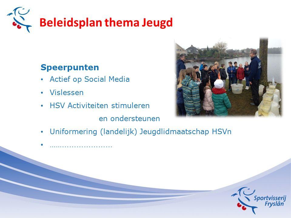 Beleidsplan thema Jeugd Speerpunten Actief op Social Media Vislessen HSV Activiteiten stimuleren en ondersteunen Uniformering (landelijk) Jeugdlidmaatschap HSVn …… …………………