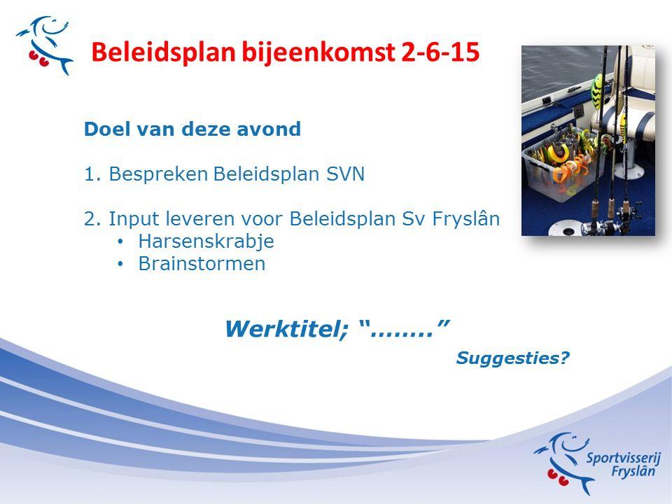Beleidsplan bijeenkomst 2-6-15 Doel van deze avond 1.Bespreken Beleidsplan SVN 2.Input leveren voor Beleidsplan Sv Fryslân Harsenskrabje Brainstormen