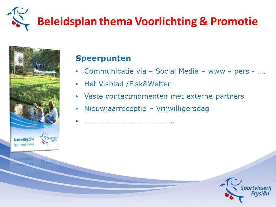 Beleidsplan thema Voorlichting & Promotie Speerpunten Communicatie via – Social Media – www – pers - …. Het Visblad /Fisk&Wetter Vaste contactmomenten