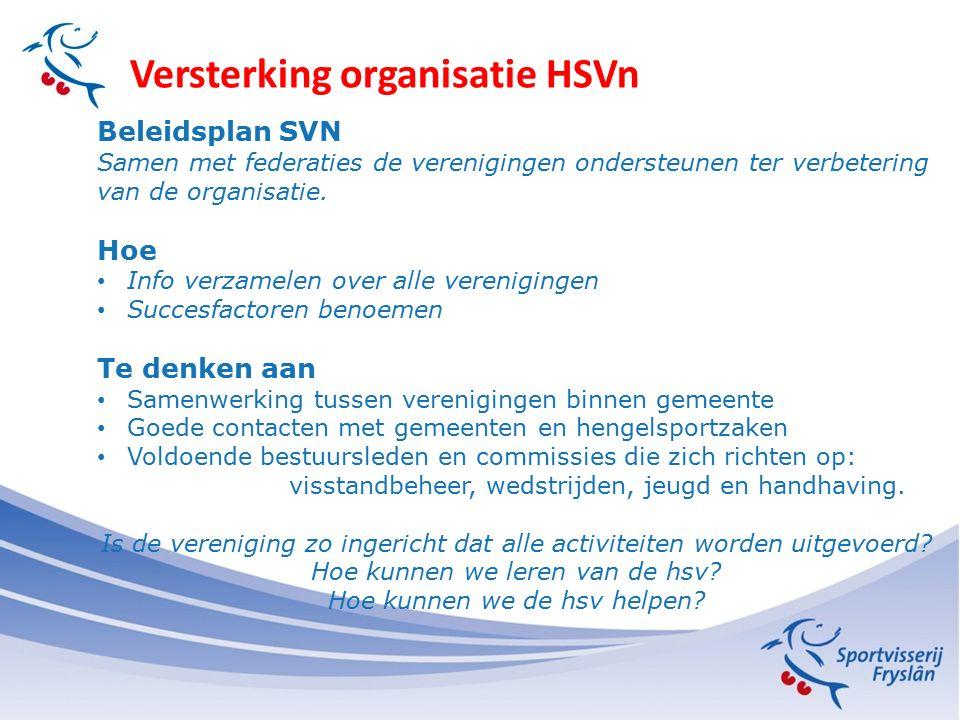 Versterking organisatie HSVn Beleidsplan SVN Samen met federaties de verenigingen ondersteunen ter verbetering van de organisatie. Hoe Info verzamelen