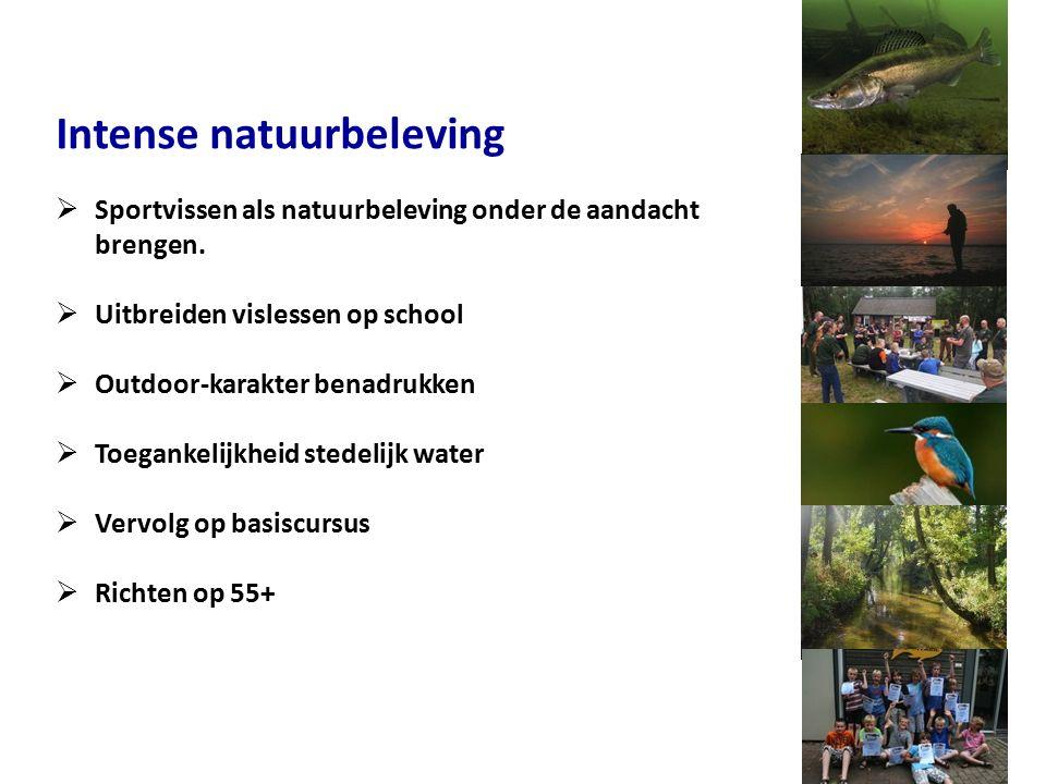 Intense natuurbeleving  Sportvissen als natuurbeleving onder de aandacht brengen.  Uitbreiden vislessen op school  Outdoor-karakter benadrukken  T