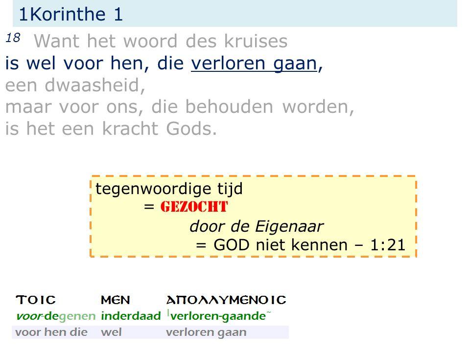 1Korinthe 1 21 Want daar de wereld in de wijsheid Gods door haar wijsheid * God niet kende, heeft het Gode behaagd door de dwaasheid der prediking te redden hen die geloven.