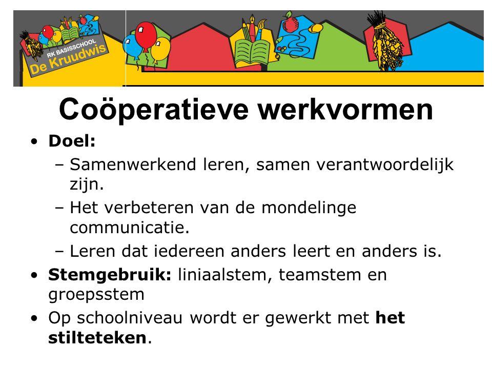 Coöperatieve werkvormen Doel: –Samenwerkend leren, samen verantwoordelijk zijn. –Het verbeteren van de mondelinge communicatie. –Leren dat iedereen an