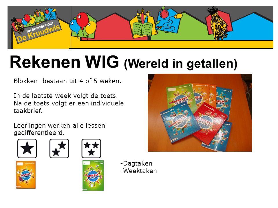 Rekenen WIG (Wereld in getallen) Blokken bestaan uit 4 of 5 weken. In de laatste week volgt de toets. Na de toets volgt er een individuele taakbrief.