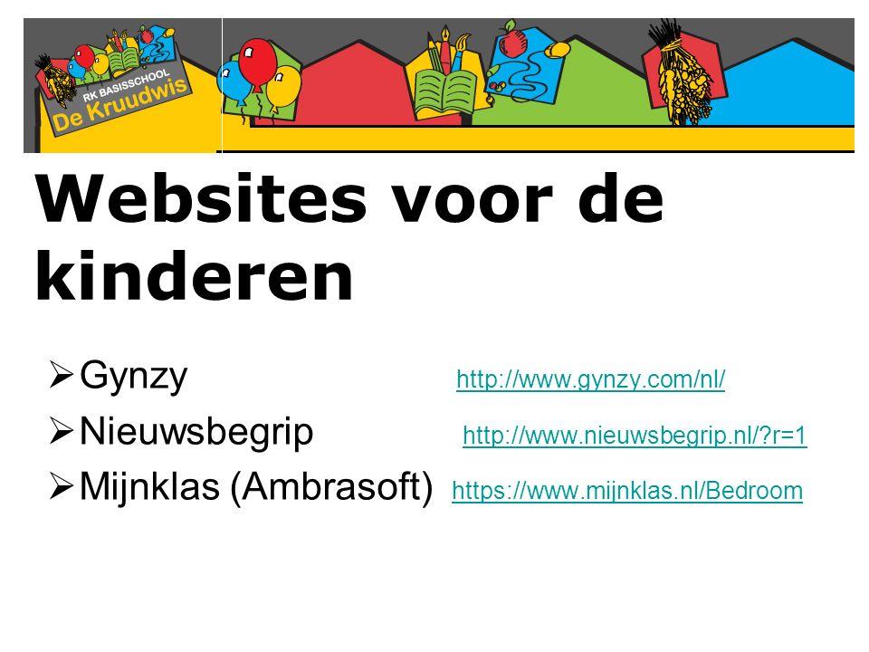 Websites voor de kinderen  Gynzy http://www.gynzy.com/nl/ http://www.gynzy.com/nl/  Nieuwsbegrip http://www.nieuwsbegrip.nl/?r=1 http://www.nieuwsbe