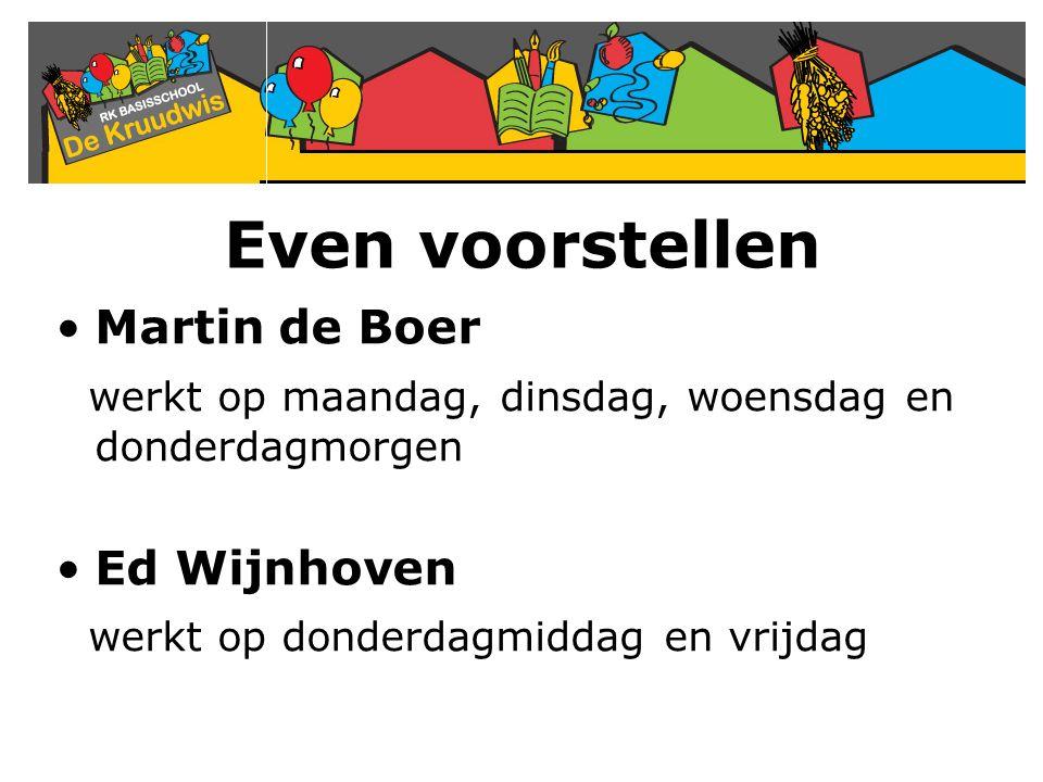 Even voorstellen Martin de Boer werkt op maandag, dinsdag, woensdag en donderdagmorgen Ed Wijnhoven werkt op donderdagmiddag en vrijdag